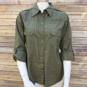 Full Tilt Army Green Studded Shirt Button Down